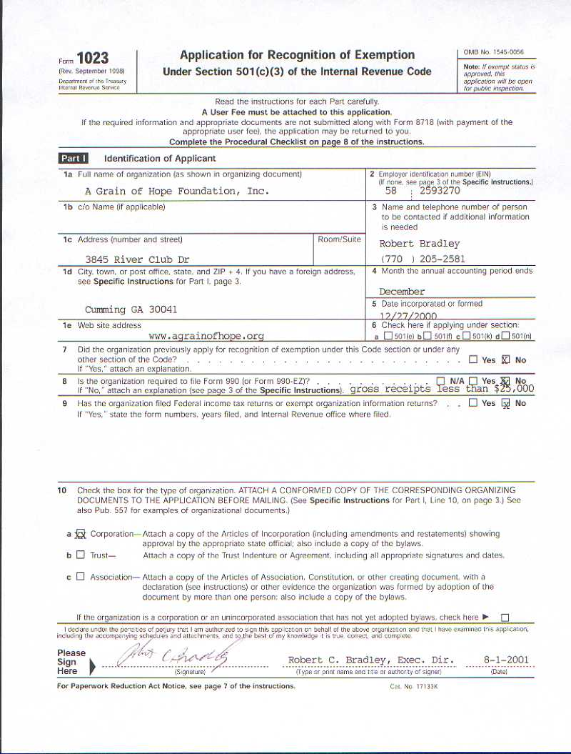 A Grain of Hope Foundation - IRS Form 1023